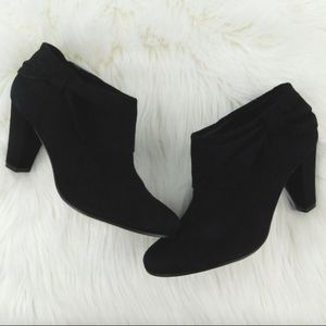 Kate Spade Black Suede Bison T Moro Bow Booties